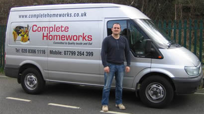 Photograph of Dan and the Complete Homeworks van